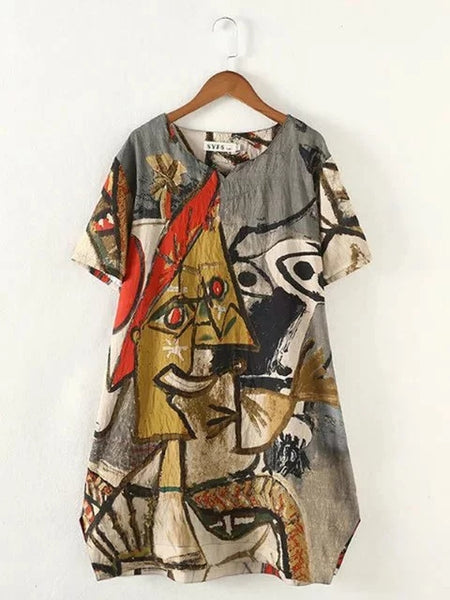 Plus Size Women A-line Short Sleeve Casual Abstract Dress