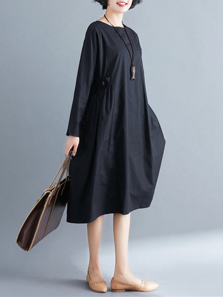 Women Black Shift Daytime Long Sleeve Casual Pockets Solid Dress