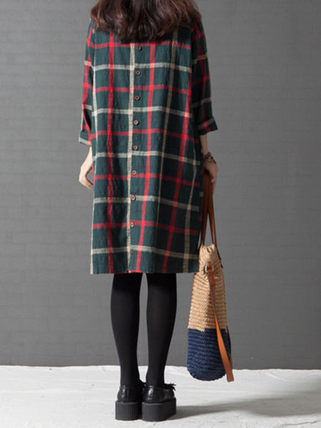 Plus Size Women Going out Long Sleeve Casual Cotton Buttoned Checkered/Plaid Dress