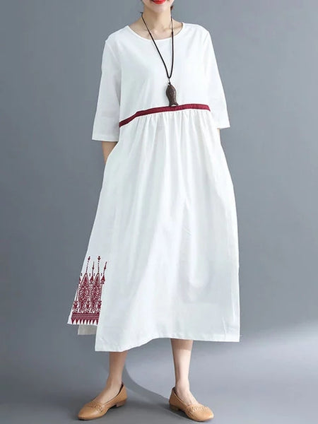 Women Shift Daytime Cotton Half Sleeve Embroidered Dress