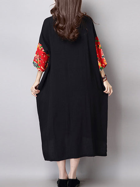 Women Black Asymmetrical Daytime 3/4 Sleeve Cotton Casual Floral Dress