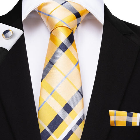 EBUYTIDE 150cm Length 28 Styles Plaid Ties Yellow Pink Red Blue Hanky Cufflinks Set Men's Silk Tie 8cm Tie Wedding Groom Crava