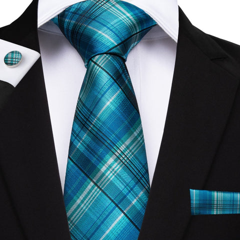 EBUYTIDE 20 Style Plaids Mens Ties For Men Necktie Hanky Cufflinks Fashion Silk 8cm Pink Blue Red Yellow Tie Gravatas Cravatte