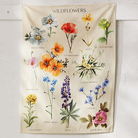 Botanical Wildflower Tapestry Wall Hanging Flower Reference Chart Hippie Bohemian Tapestries Colorful Psychedelic INS Home Decor