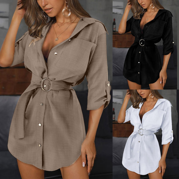 Button Mini Dress Elegant Women Dresses Women Autum Long Sleeve Mini Dress Ol Belt Casual Work Plain Shirt Pocket Dress