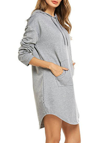Hoodie Women Shift Daily Long Sleeve Cotton Pockets Dress