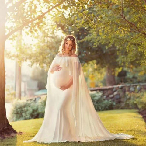 Chiffon Shawl Dress Maternity Photography Props Elegant Maxi Gown Pregnancy Dress Shoulderless Maternity Dresses For Photo Shoot