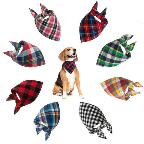 Classic Pet Dog Bandana Lattice Cotton Bandana for Small Large Dog Bibs Scarf Washable Kerchief Bow Tie Pet Grooming Accessories