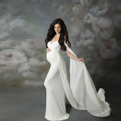 Cute Long Maternity Dress Cloak Chiffon Shoulderless Pregnancy Dress For Photo Shoot Women Pregnant Maxi Gown Photography Prop