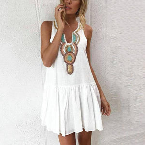 V Neck Single Breasted Printed Sleeveless Shift Dresses