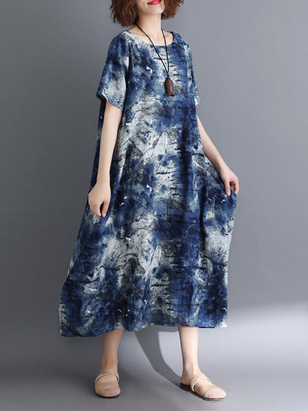 Women Navy Blue Shift Daytime Linen Short Sleeve Pockets Abstract Dress