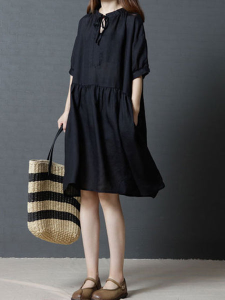 Keyhole Women Black Shift Daily Linen Short Sleeve Casual Dress