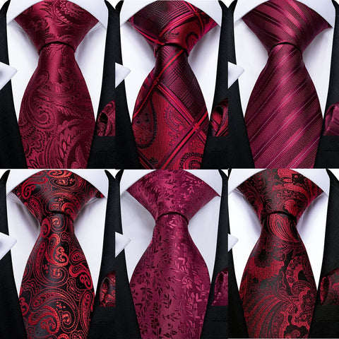 EBUYTIDE Men Tie Red Wine Paisley Design Silk Wedding Tie For Men Hanky Cufflink Tie Set Fashion Bussiness Party Dropshipping