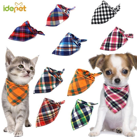 Dog Bibs For Small Dogs Puppy Bandanas Cotton Plaid Washable Pet Bandanas Scarf Bow Ties Collar Cat Middle Large Dog Grooming 20