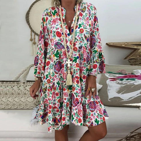 Fifity Bohemian Style Floral Print Long Sleeve Ruffled Mini Dress
