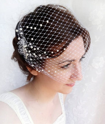 Elegant Women Bridal Hat Veil Pearls Beaded Short Face Veil Birdcage Net Wedding Hats and Fascinator