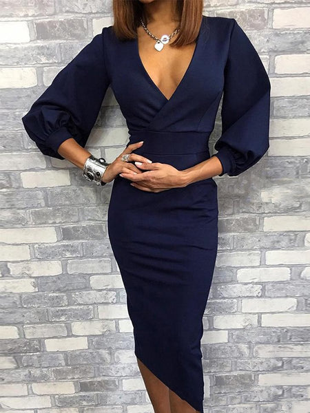 Surplice  Plain Bodycon Dresses