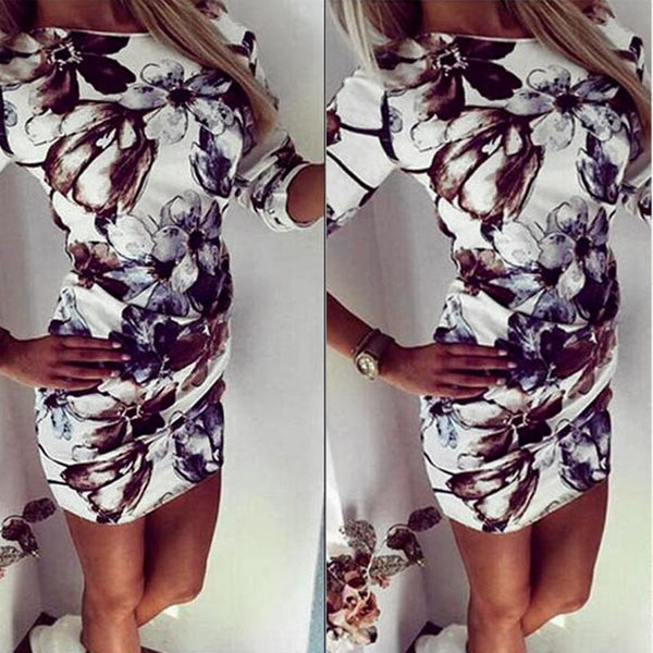 Printed Round Neck Long Sleeve Bodycon Dresses