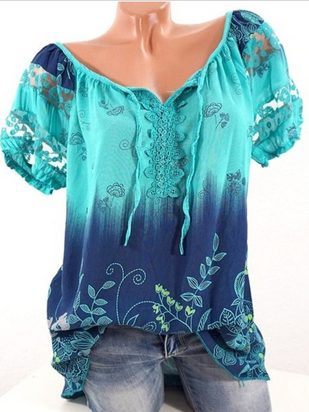 Flower Print V-Neck Short Sleeve T-Shirt