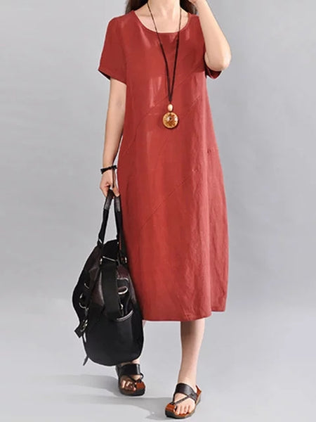 Women Cocoon Cotton Short Sleeve Solid Dress