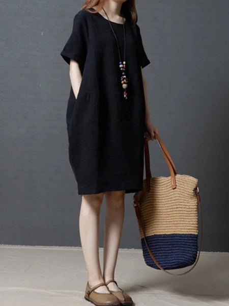 Plus Size Women Daily Short Sleeve Linen Pockets Solid Dress