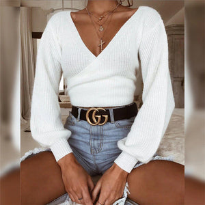 Women Off Shoulder V Neck White Sweaters