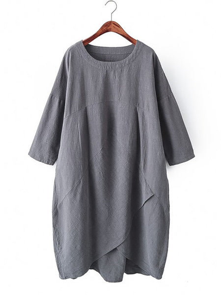 Plus Size Women Asymmetrical 3/4 Sleeve Pockets Solid Dress