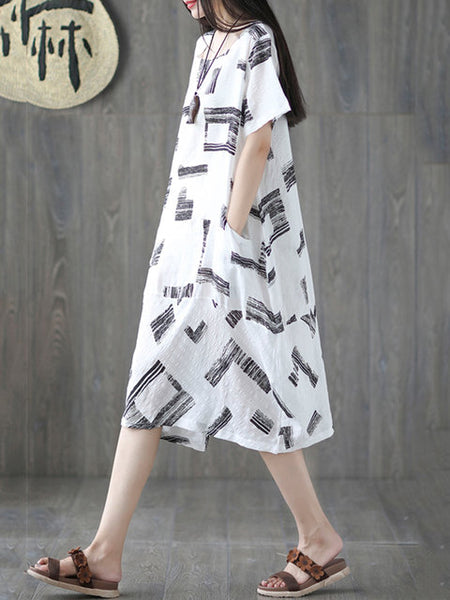 Women Cocoon Daily Short Sleeve Pockets Dress