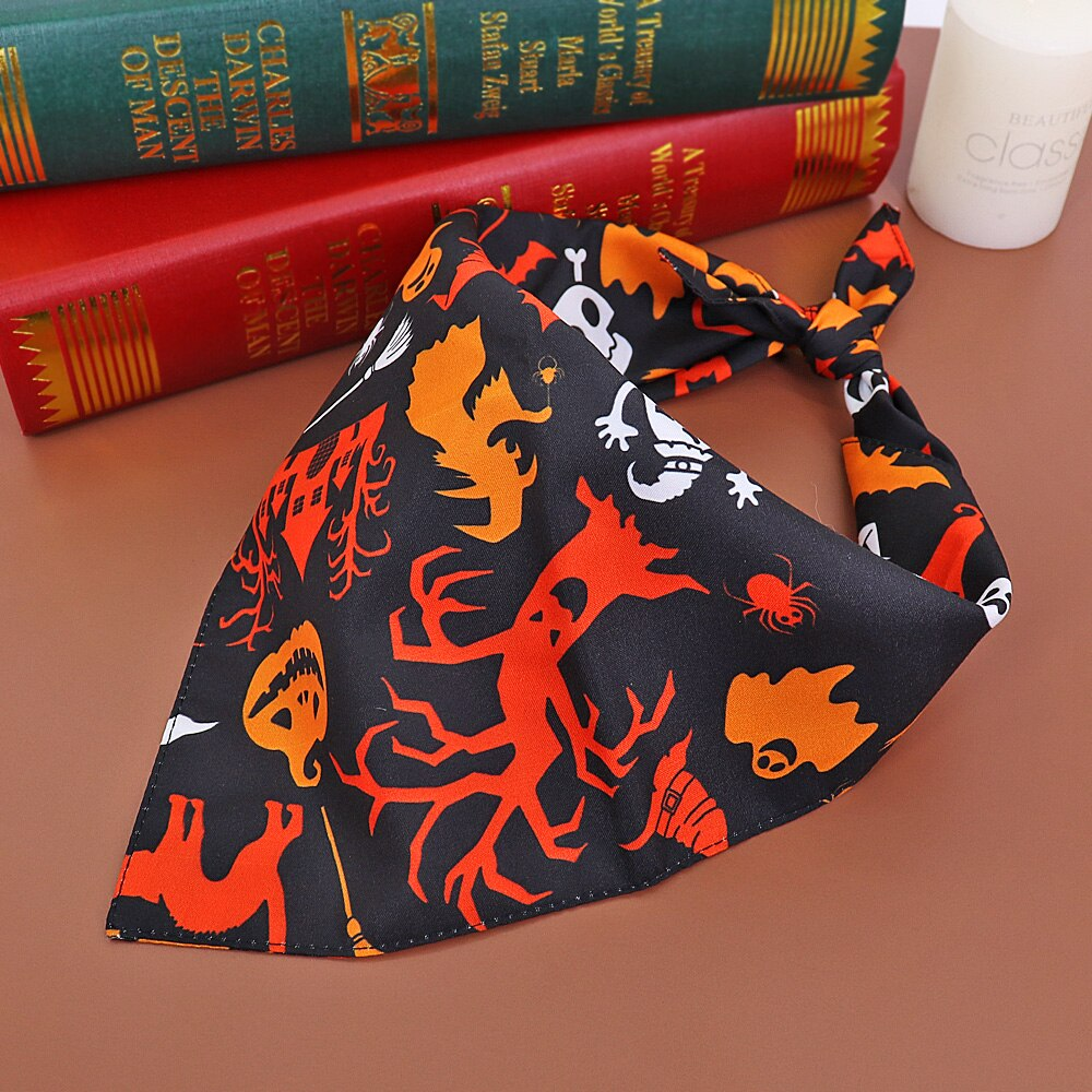 Halloween Dog Cat Bandana Collar Puppy Cat Banadas Scraf Bibs Pumpkin Skull Print Dog Neckerchief Accessories For Large Dogs