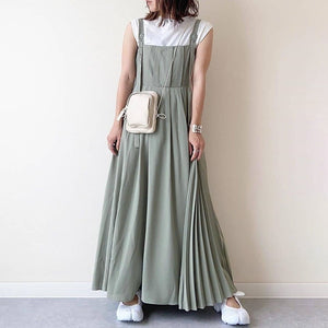 Japanese Women Long Dress Waist Pleated Maxi Dresses Suspenders Solid Color Wild Suspender Female Sling Dress Pleated Patchwork