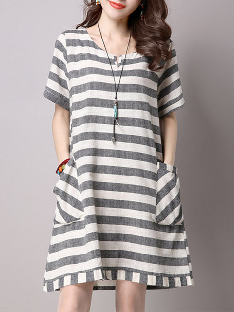 Women Gray Daytime Short Sleeve Casual Linen Printed Striped Dress