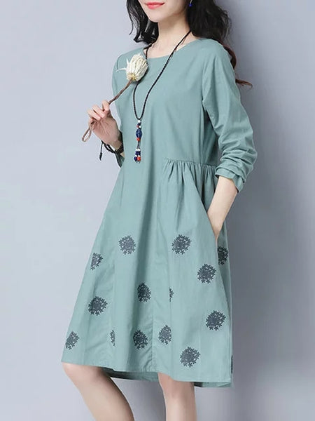 Women Daytime Cotton Long Sleeve Pockets Floral Dress