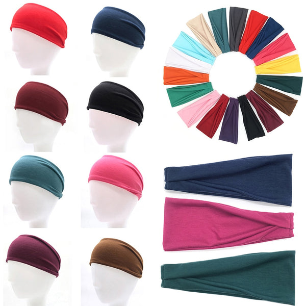 Men Women Sport Yoga Wide Headband Sweatband Solid Color Stretch Outdoor Fitness Elastic Hair Bands Hair Accessories Headwear