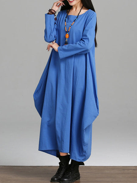 Women Blue Cocoon Daily Cotton Casual Long Sleeve Pockets Solid Dress