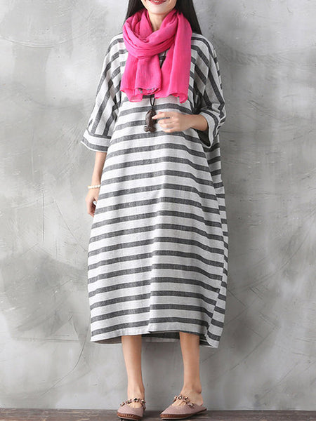 Women Daily Casual 3/4 Sleeve Pockets Striped Dress
