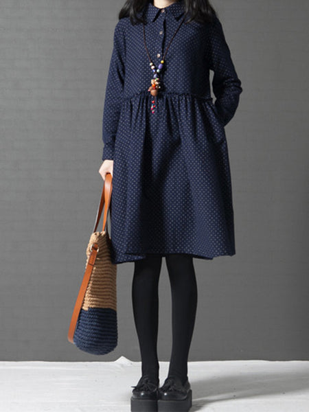Shirt Collar Women Daily Casual Long Sleeve Printed Polka Dots Dress
