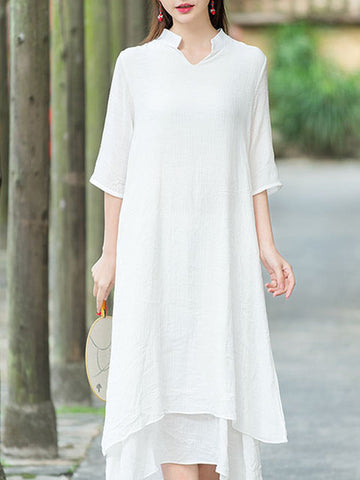 Stand Collar Women Shift Daytime 3/4 Sleeve Cotton Tiered Solid Dress