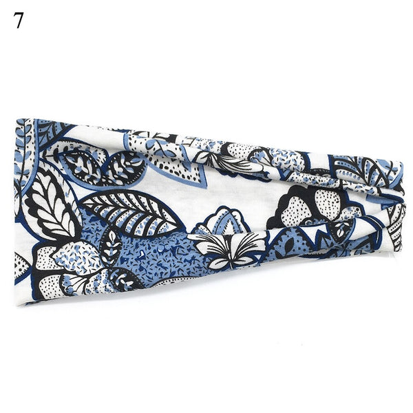 New Boho Floral Printed Headband For Women Girls SPA Wide Elastic Hair Bands Sweatband Sport Yoga Soft Hair Accessories Headwrap