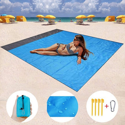 Outdoor Portable Beach Mat Folding Camping Pocket Picnic Mat Waterproof Moistureproof Tent Ground Mattress Lightweight Blanket