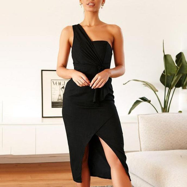 Fashion Solid Color Asymmetric Shoulder Slim Dress