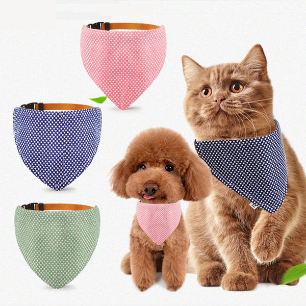 Pet Accessories Cat Dog Bandana Washable & Reversible Triangular Cotton Dog Puppy Bib Scarf Collar Adjustable for Small Dog Cat