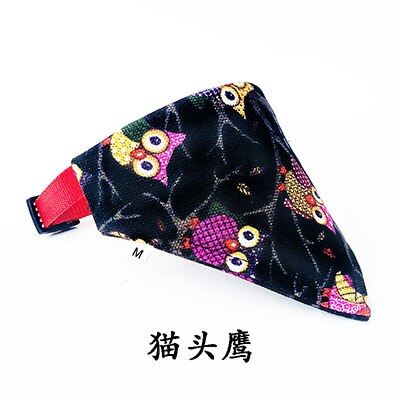 Pet Dog and Cat Bandanas Scarf Printed Triangular Canvas Dog Bibs Waterproof Saliva Towel with Adjustable Nylon Strap Collar
