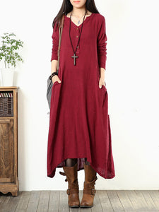 V neck Women Daily Long Sleeve Casual Buttoned Solid Dress