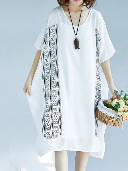 Women Shift Daily Batwing Cotton Printed Tribal Dress