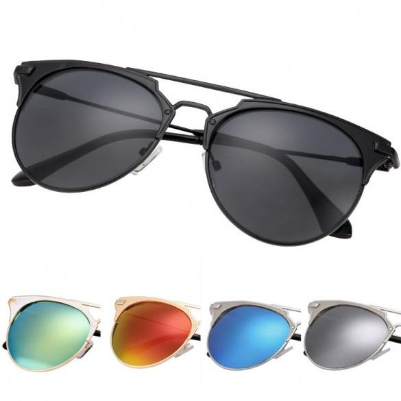 Women's European Style Metal Frame Big Lens Eyewear Shades  Sunglasses