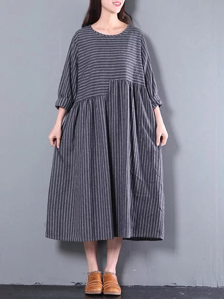 Women Gray Shift Daytime Cotton Half Sleeve Printed Striped Dress