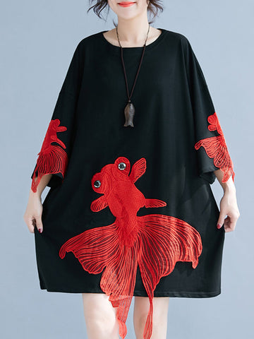 Women Black Shift Daily 3/4 Sleeve Cotton Embroidered Animal Dress