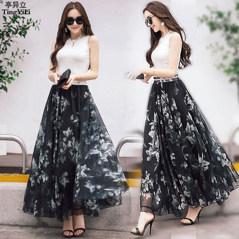 Long Floral Skirts Womens Holiday Beach Boho Skirt Summer Long Skirts Elegant Ladies Maxi Chiffon Skirt 8M Big Swing