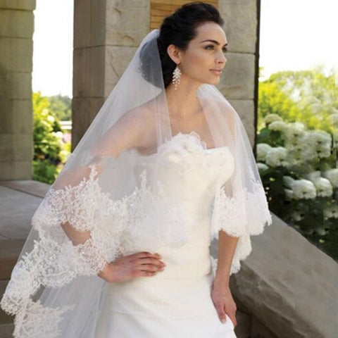 Two Layers Lace Edge Sequin Bridal Veil For Women Wedding Veil With Comb Wedding Accessories