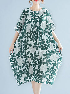 Women Green Cocoon 3/4 Sleeve Cotton Pockets Dress